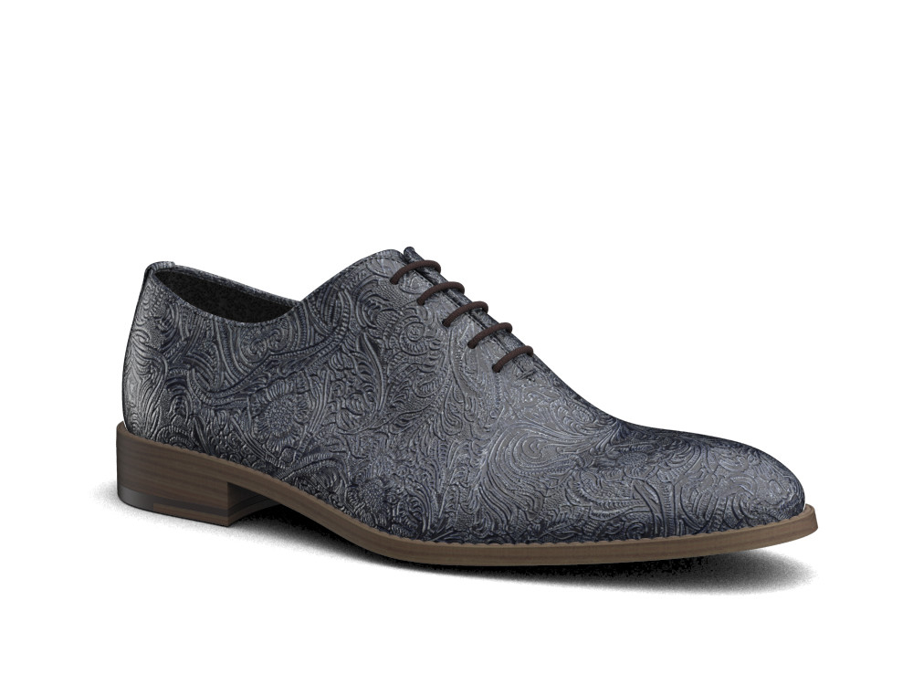blue damask pattern leather men oxford plain