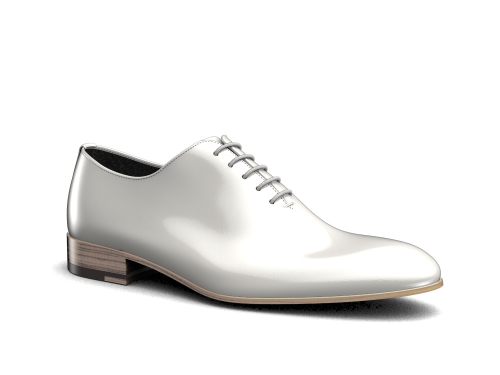 white shiny book leather men oxford plain