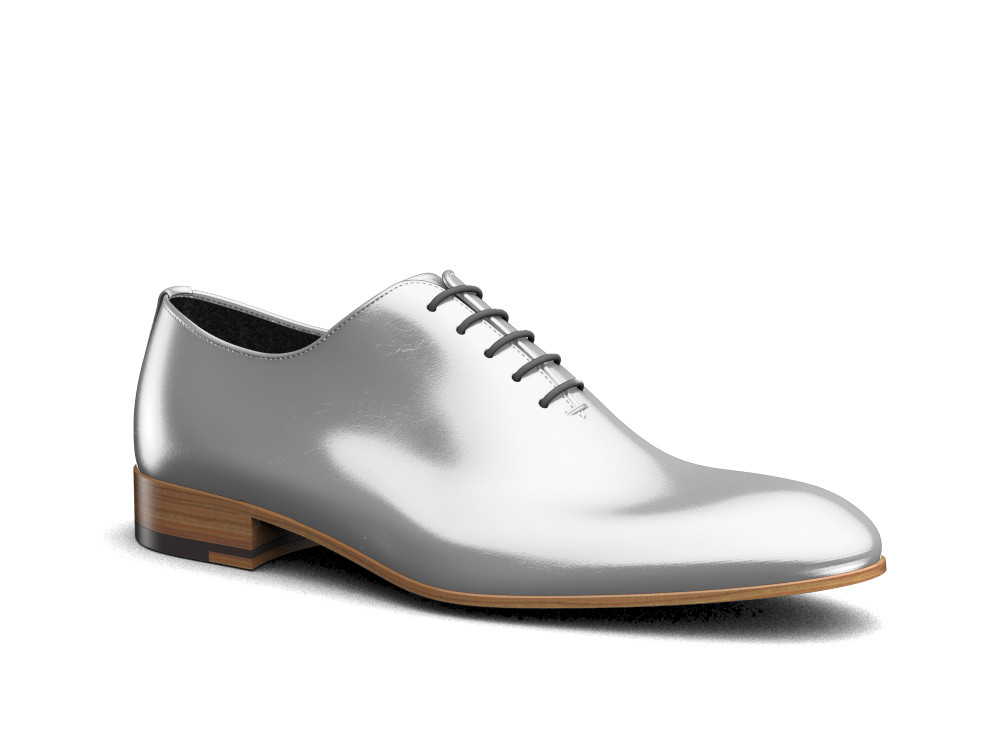 silver laminated shiny leather men oxford plain