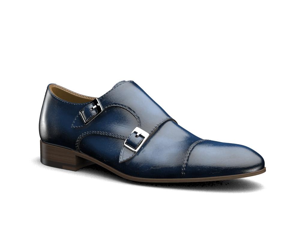 blu polished leather men double monk