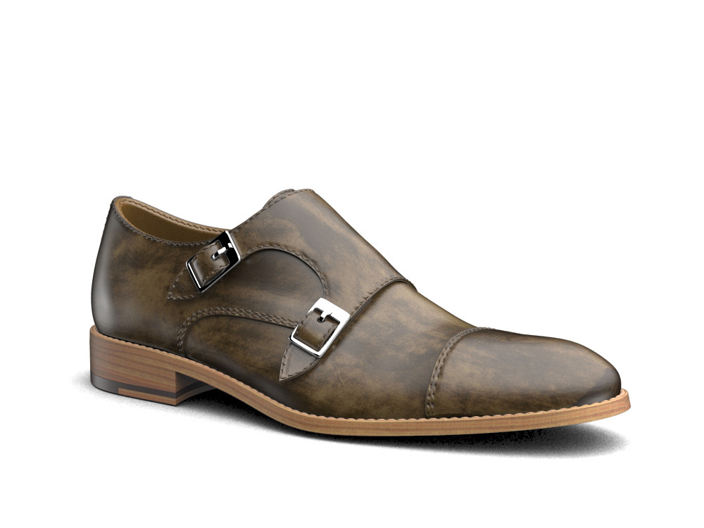 olive decò leather men double monk