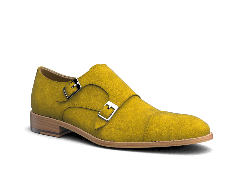 sun suede leather men double monk