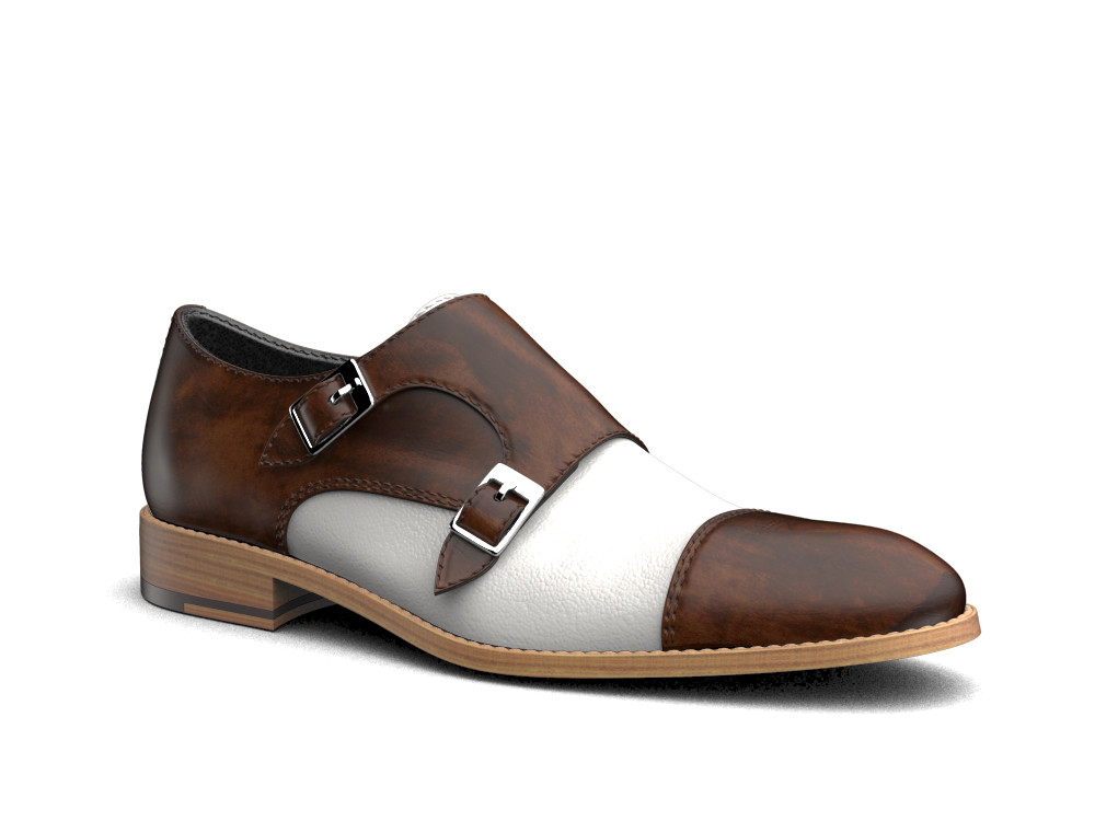 brown white deco leather men double monk