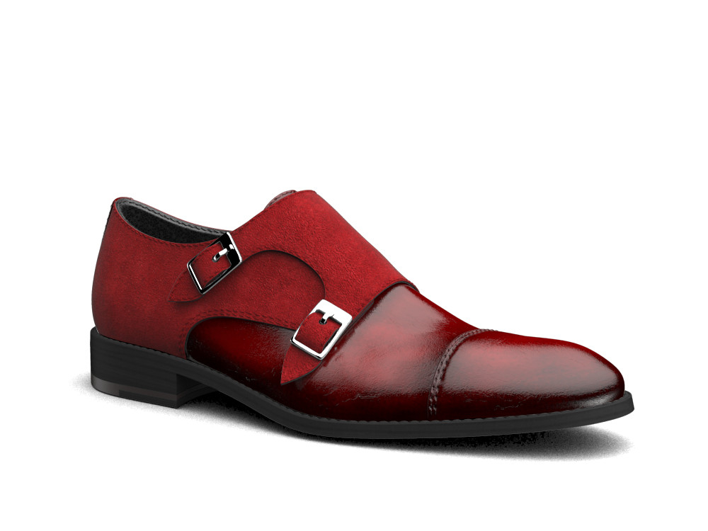 red polished suede leather men double monk