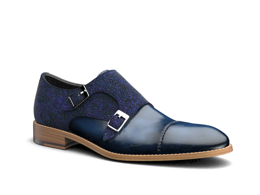 blue stardust polished leather men double monk