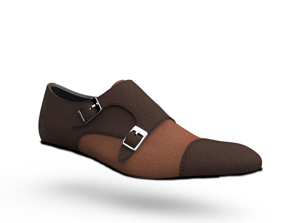brown bicolored pebble grain leather men double monk