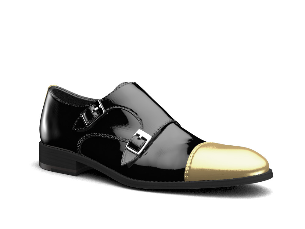 black patent leather men double monk
