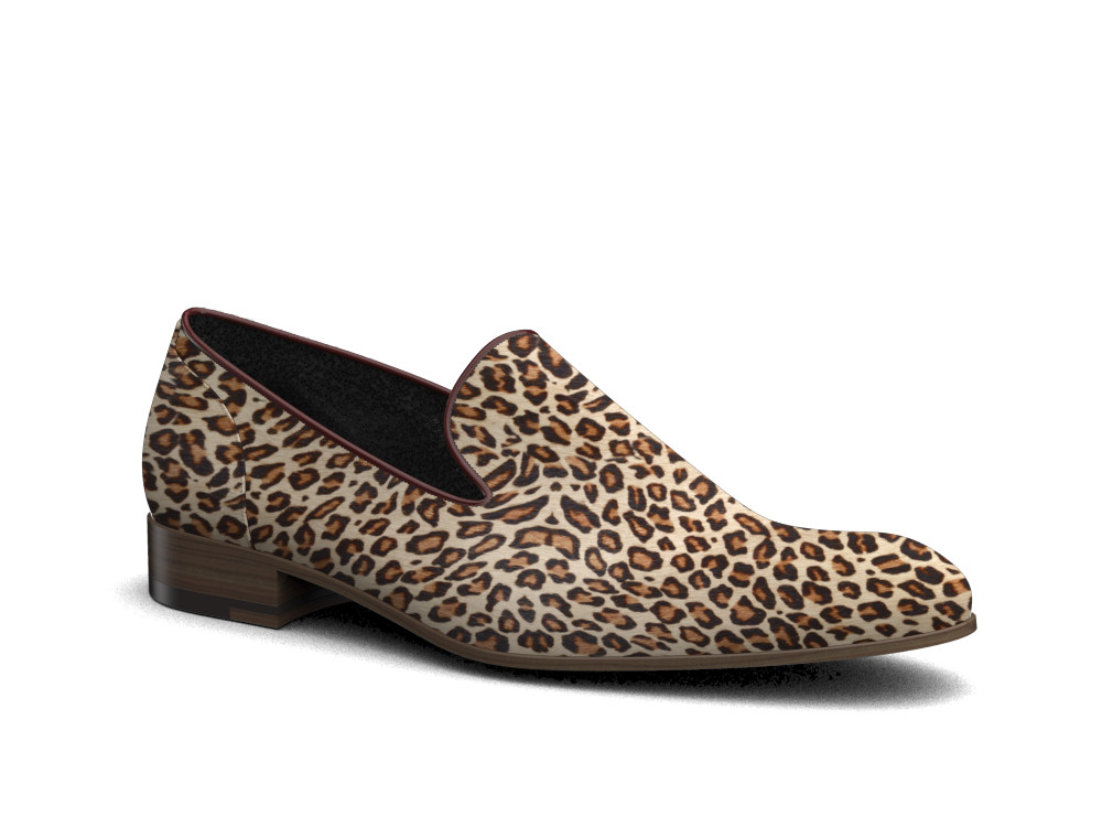 lynx pattern leather men slip on
