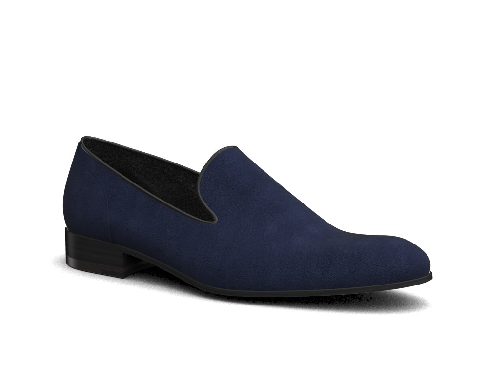 navy suede leather men slip on