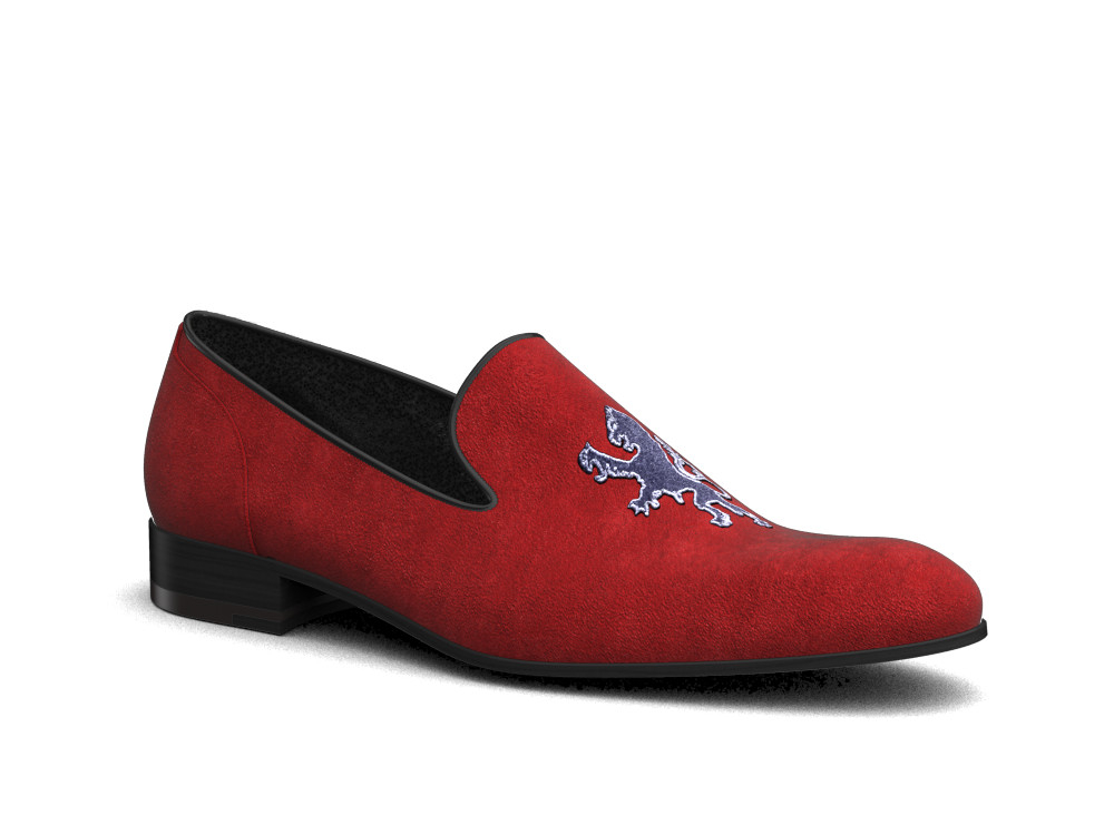 red suede leather men slip on