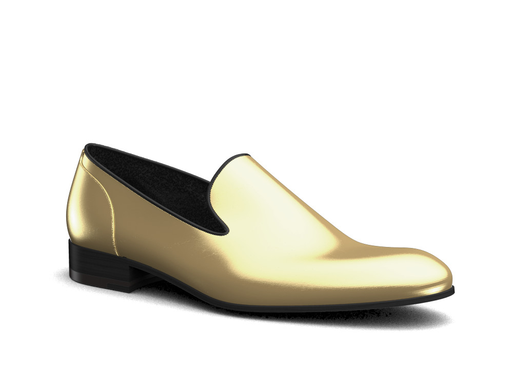 gold shiny book leather men slip on