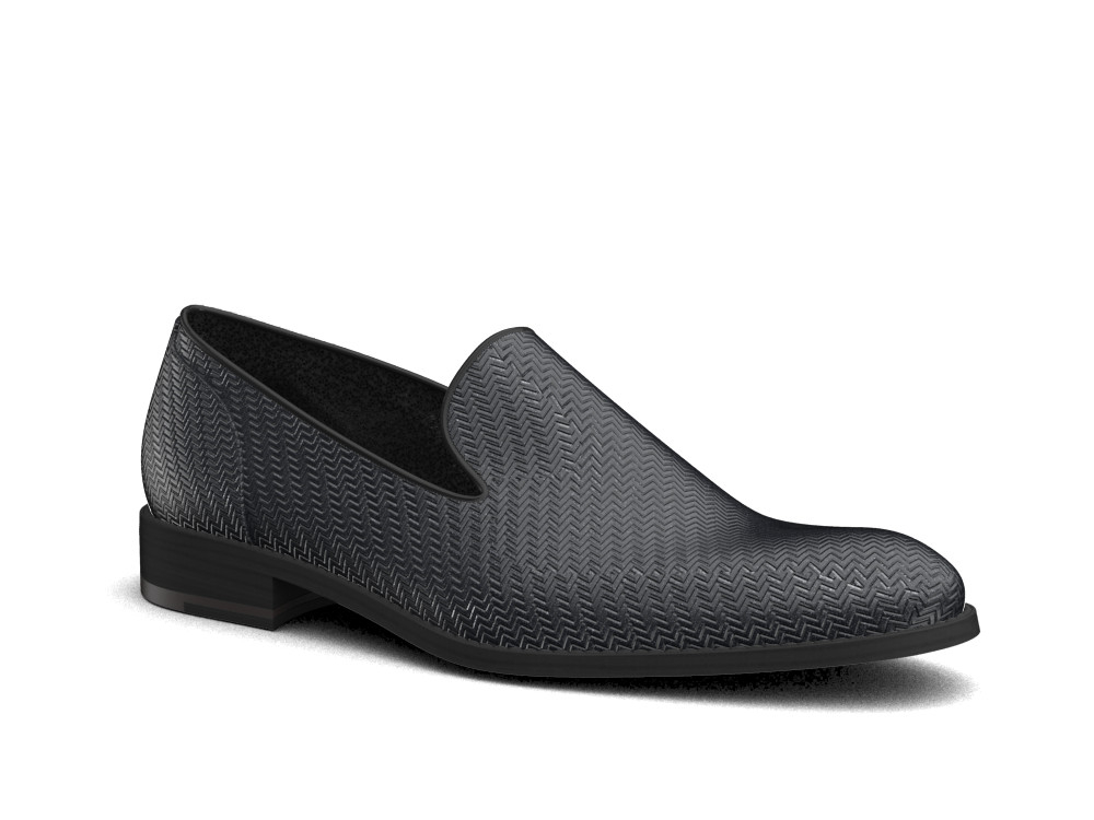 black victory pattern leather men slip on