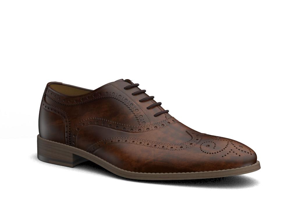 brown decò leather men oxford wing brogue