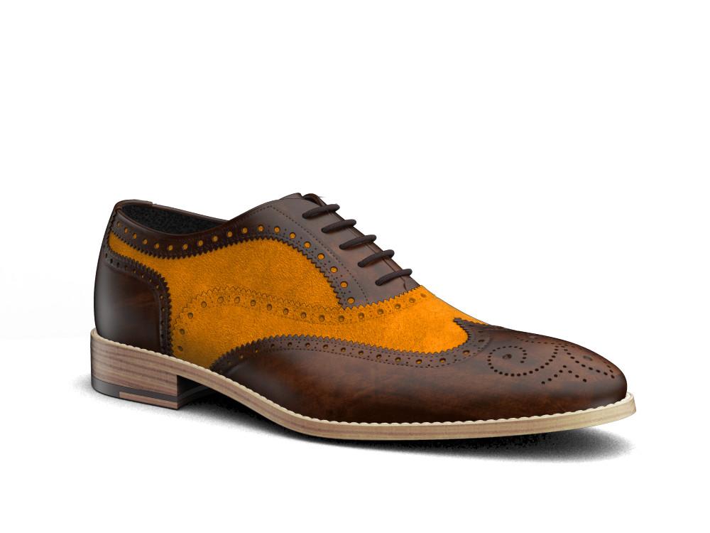 orange suede leather men oxford wing brogue