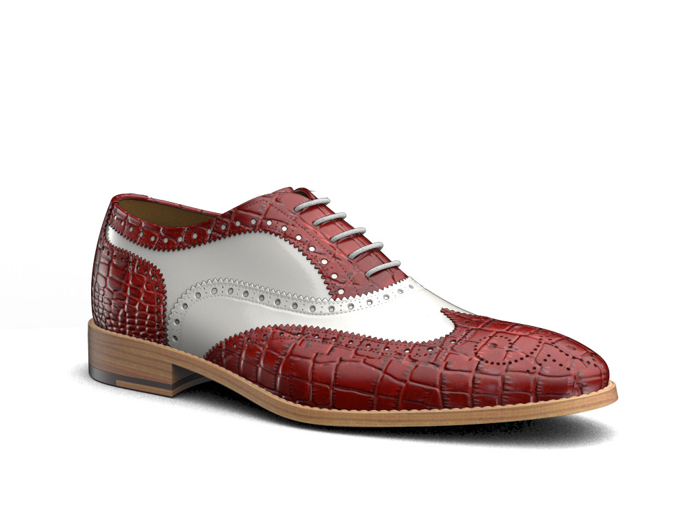 red crocodile leather men oxford wing brogue