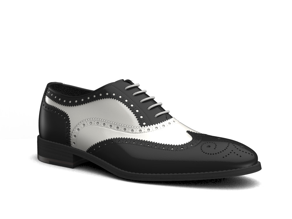 bicolored shiny leather men oxford wing brogue