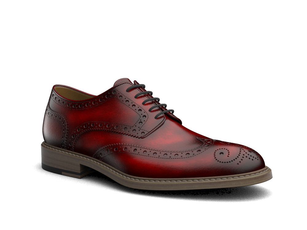 burgundy polished leather men derby wing brogue