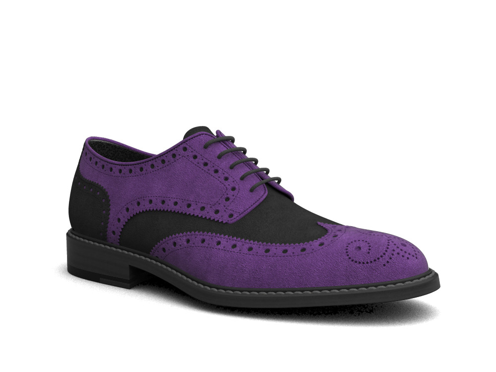 violet suede leather men derby wing brogue