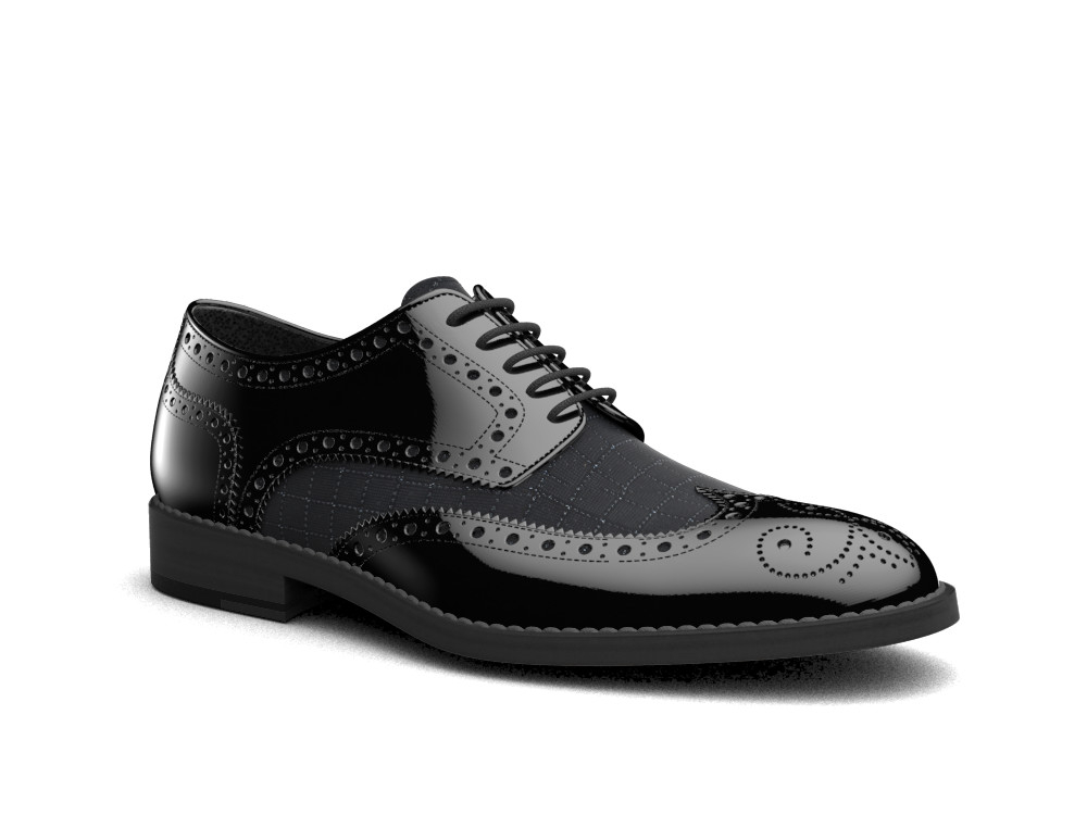 black patent ninja print leather men derby wing brogue