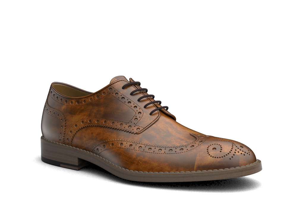 tan decò leather men derby wing brogue
