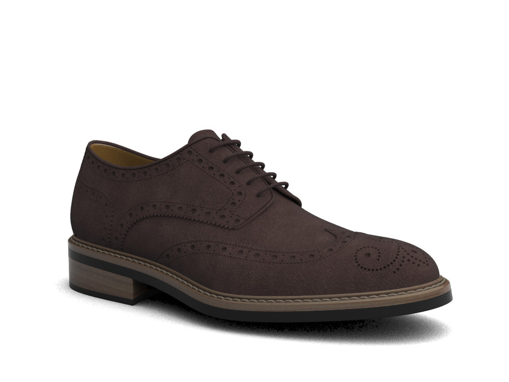 brown suede leather men derby wing brogue