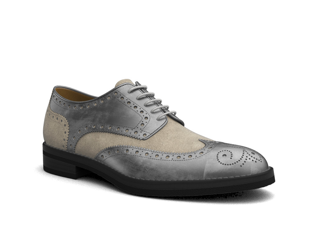 grey decò sand suede leather men derby wing brogue