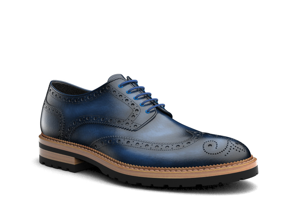 navy polished leather men derby wing brogue