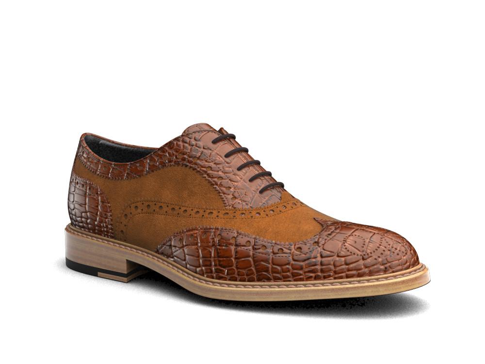 tan crocodile printed leather men oxford wing brogue