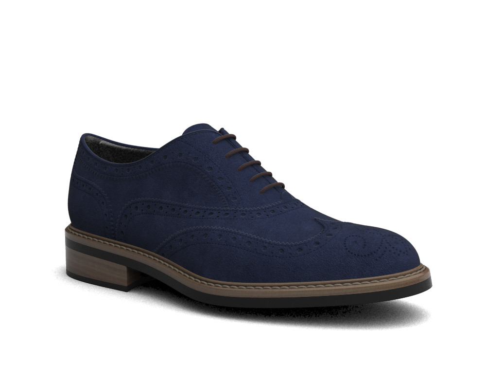 navy suede leather men oxford wing brogue