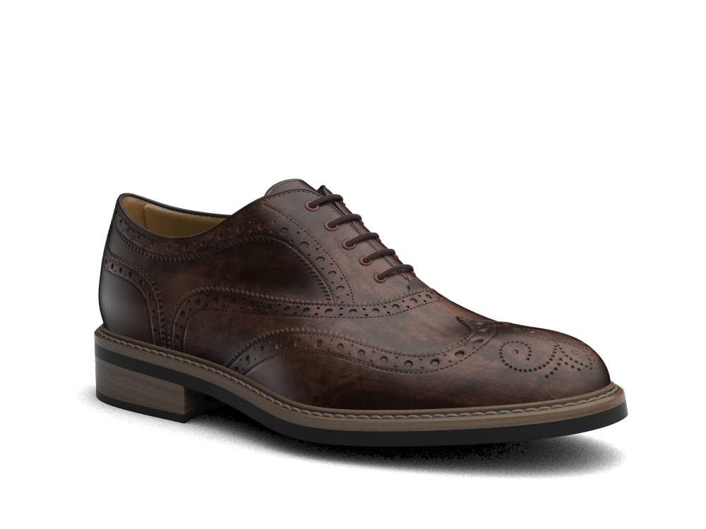 coffee decò leather men oxford wing brogue