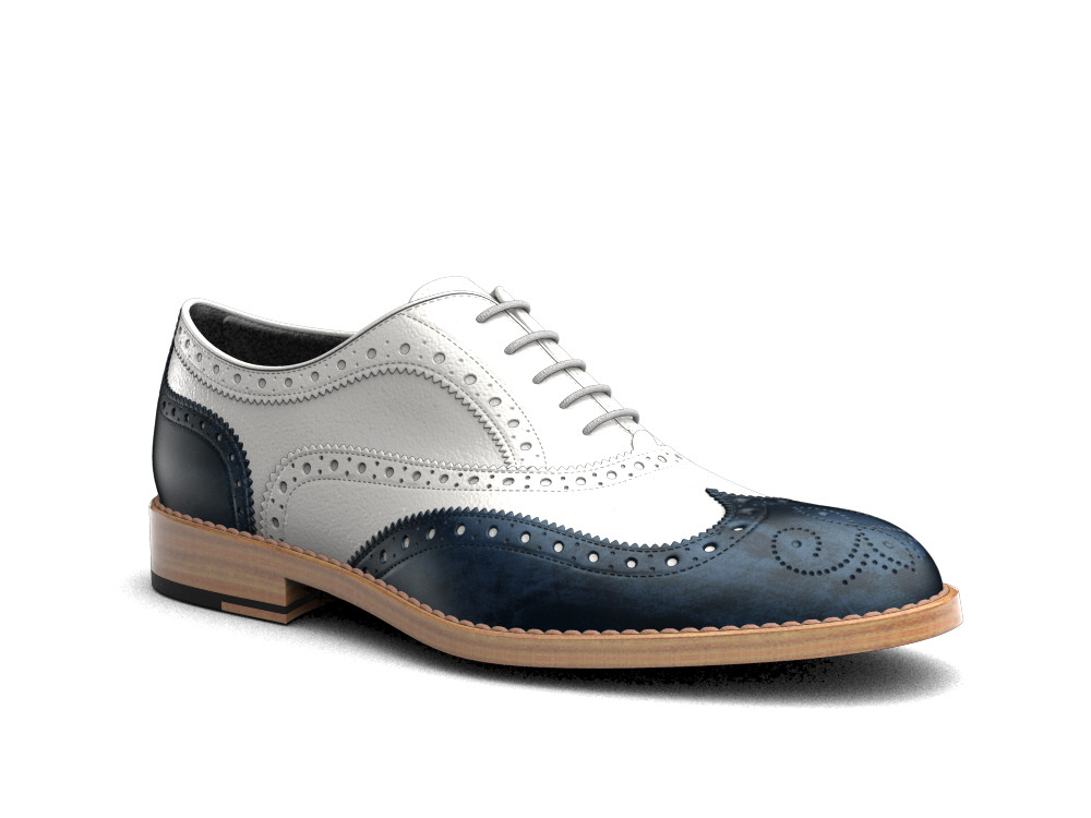 two tone blue white deco leather men oxford wing brogue