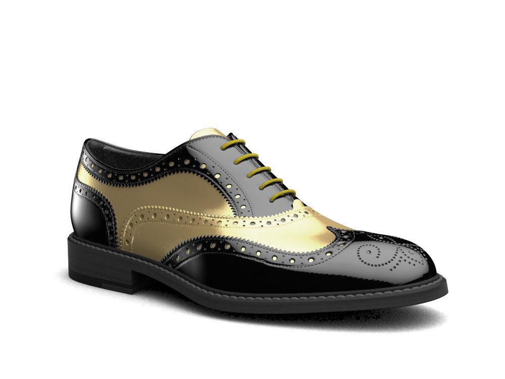 black patent leather men oxford wing brogue
