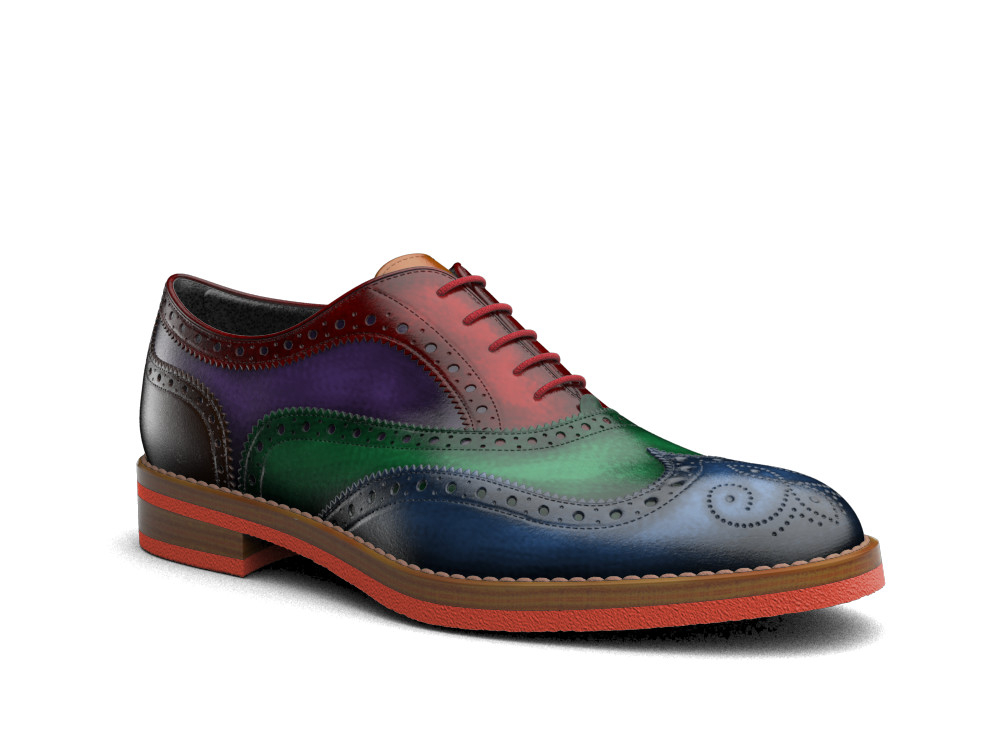 multicolor polished leather men oxford wing brogue