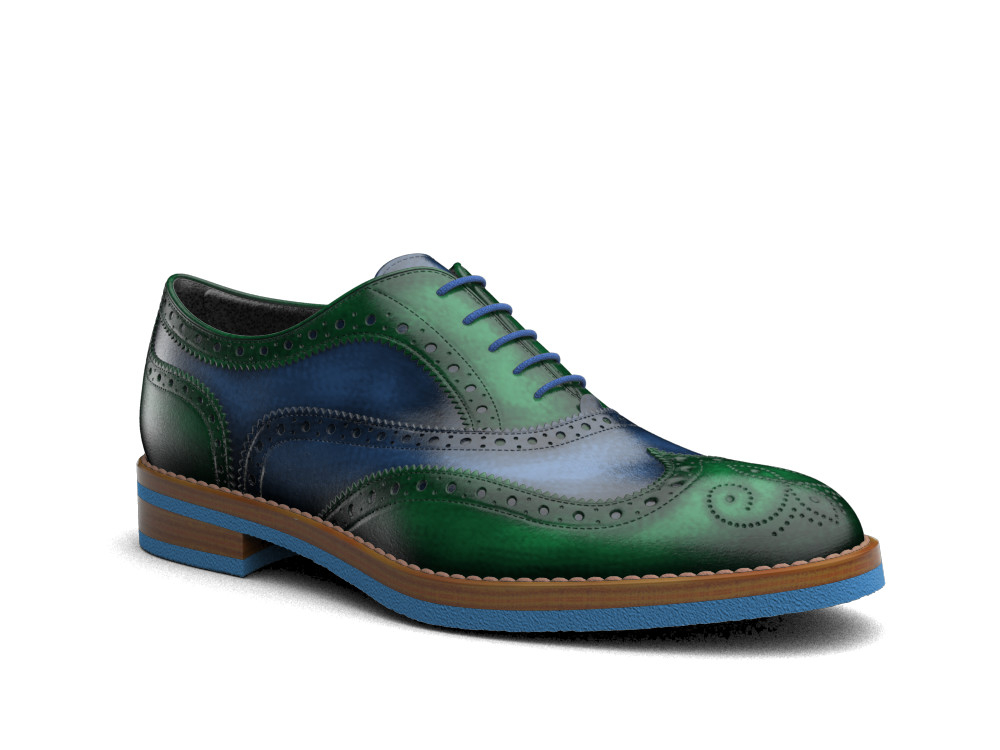 green polished men oxford wing brogue