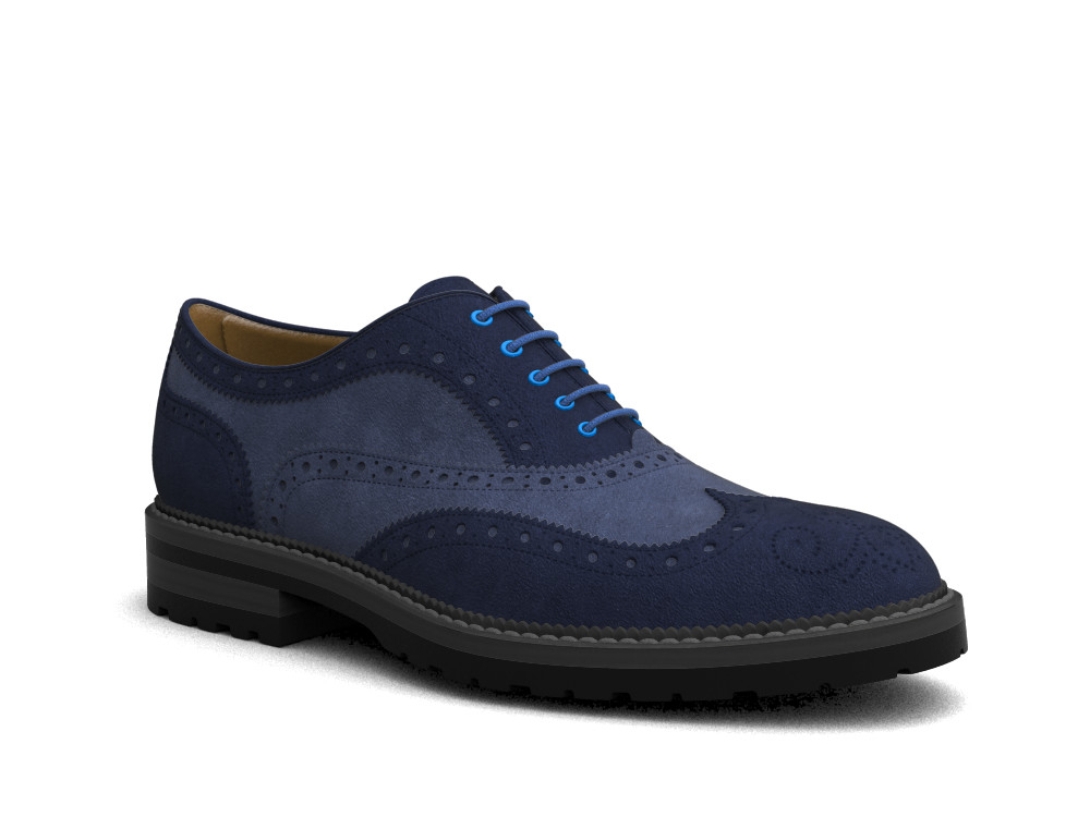blue suede leather men oxford wing brogue