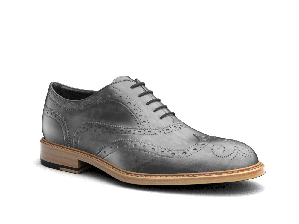 gray deco leather men oxford wing brogue