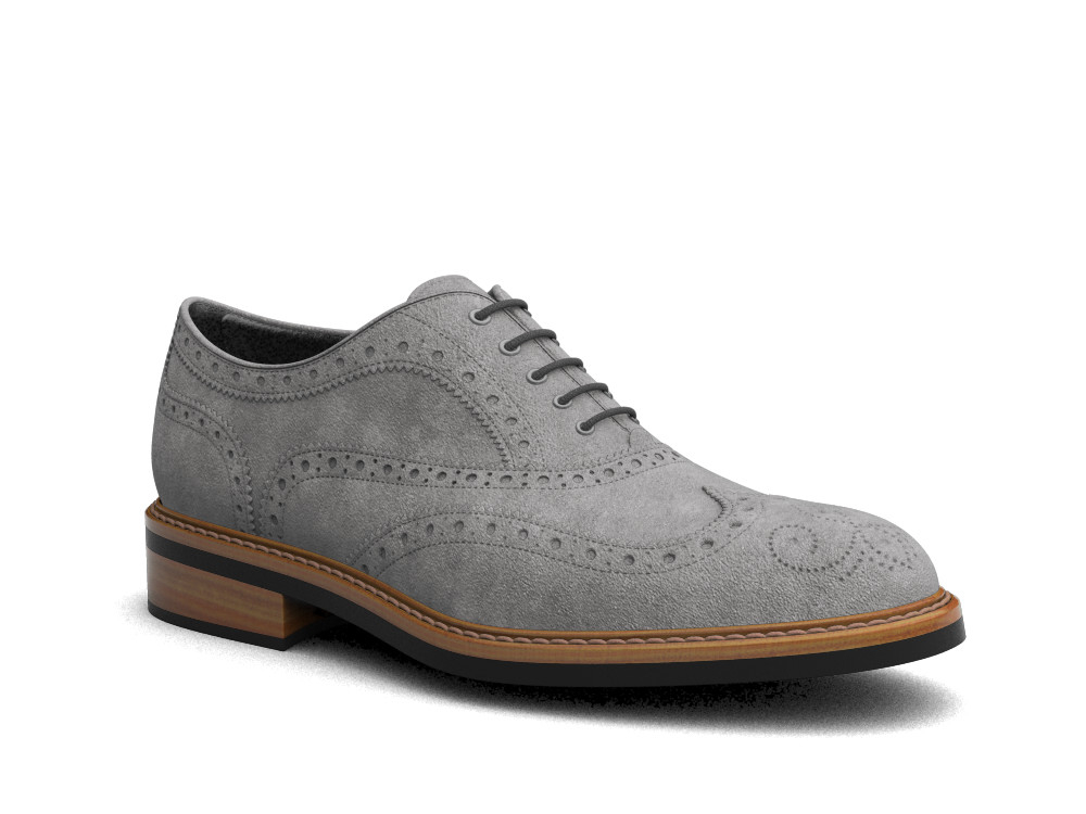 grey suede leather men oxford wing brogue