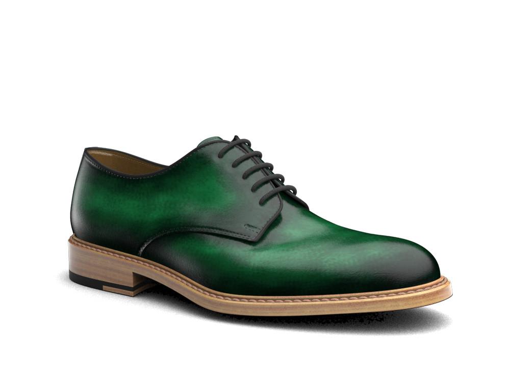 green polished leather men derby plain