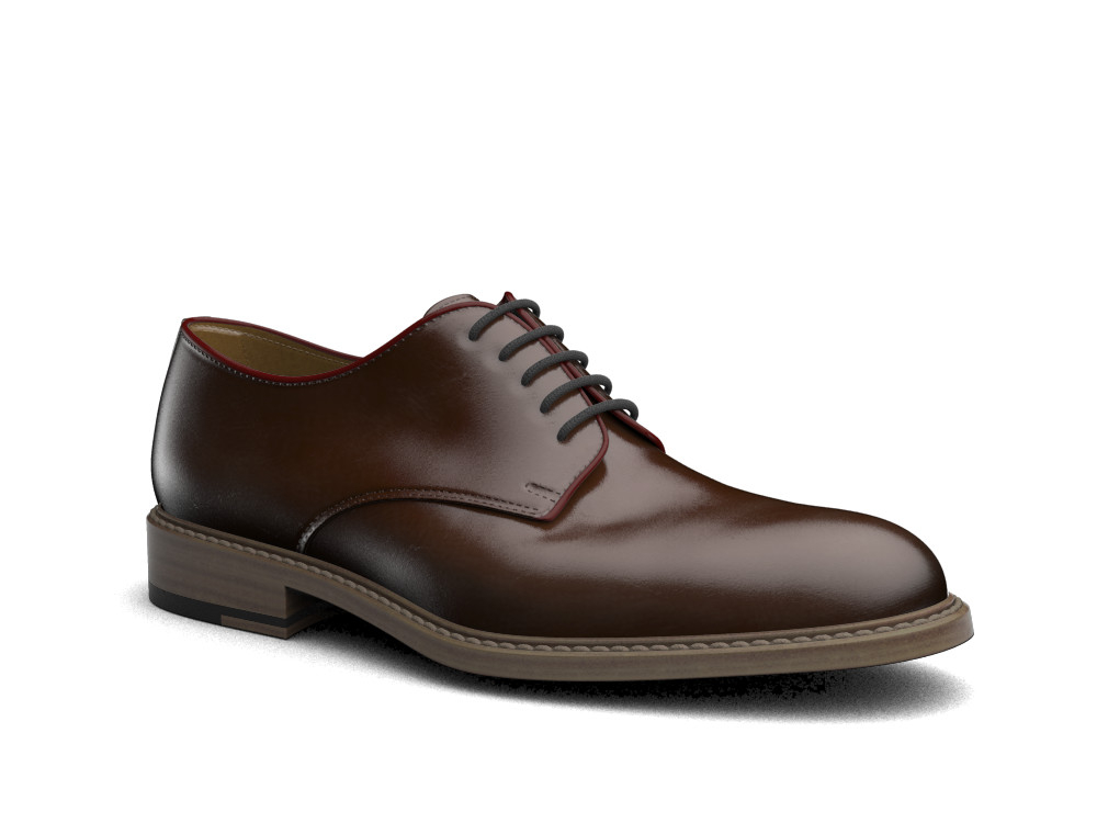 coffee polished leather men derby plain