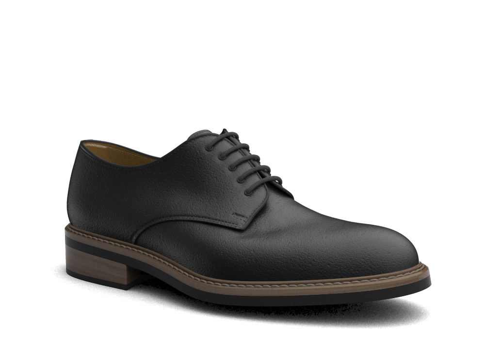 black calf leather men derby plain