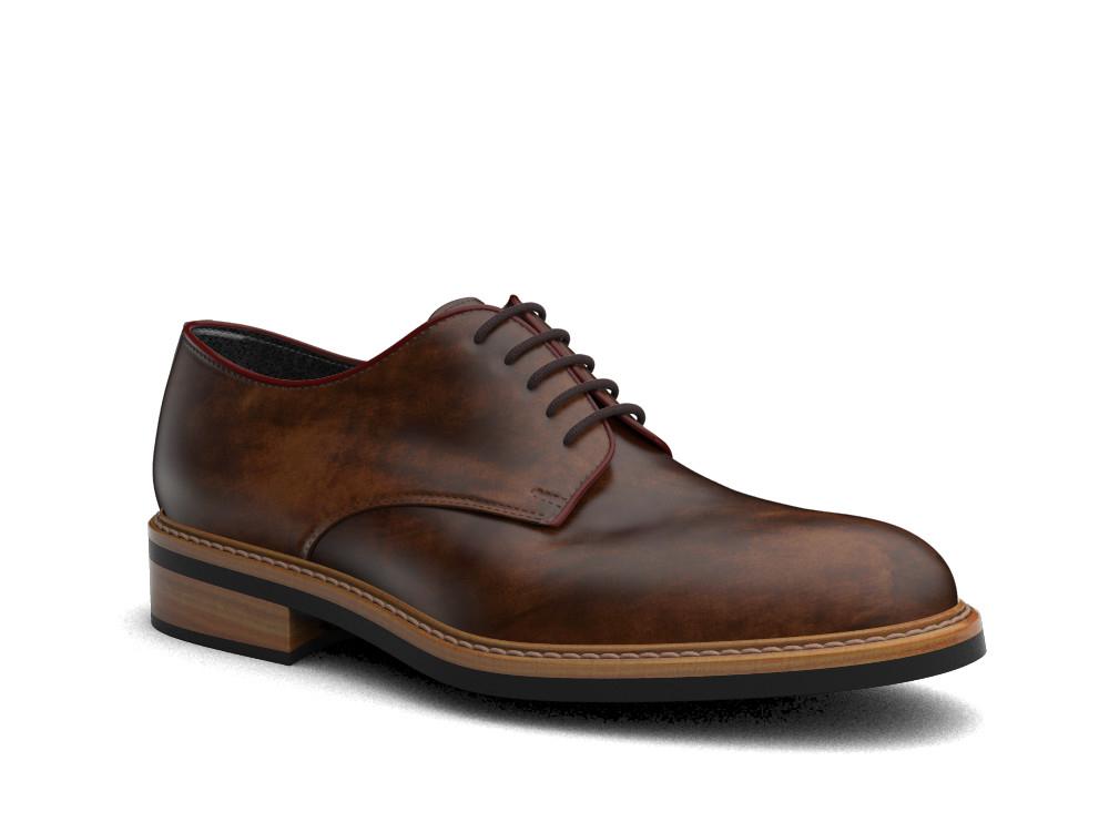 dark-brown decò leather men derby plain
