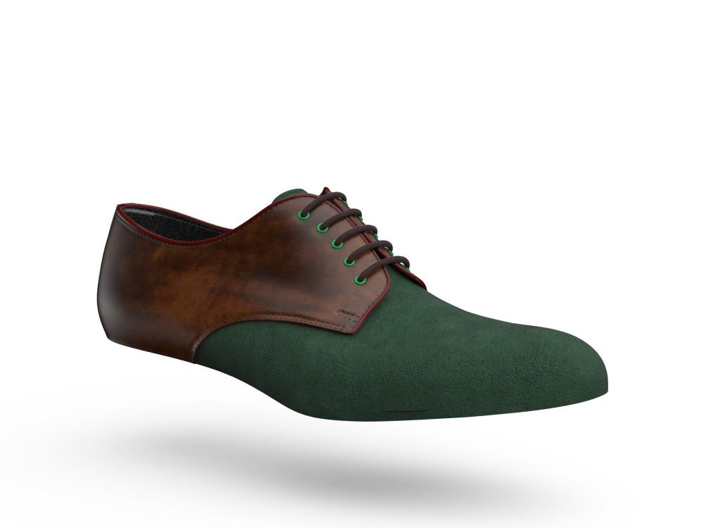 green suede brown decò leather men derby plain