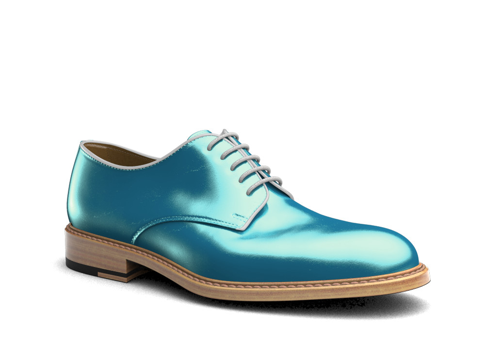 turquoise laminated leather men derby plain