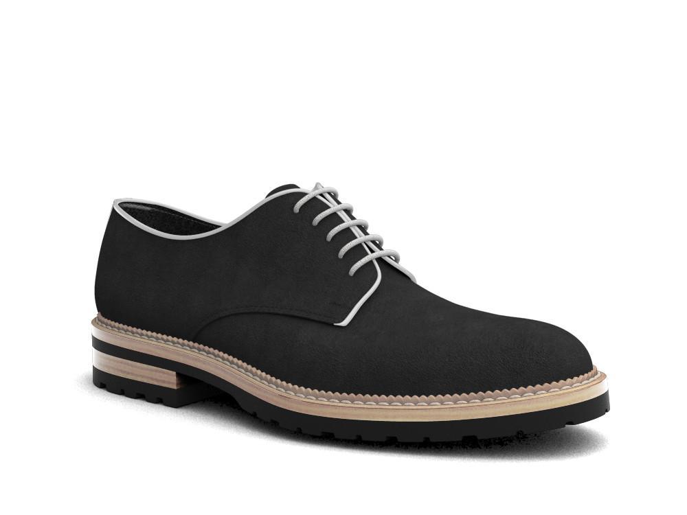 black suede leather men derby plain