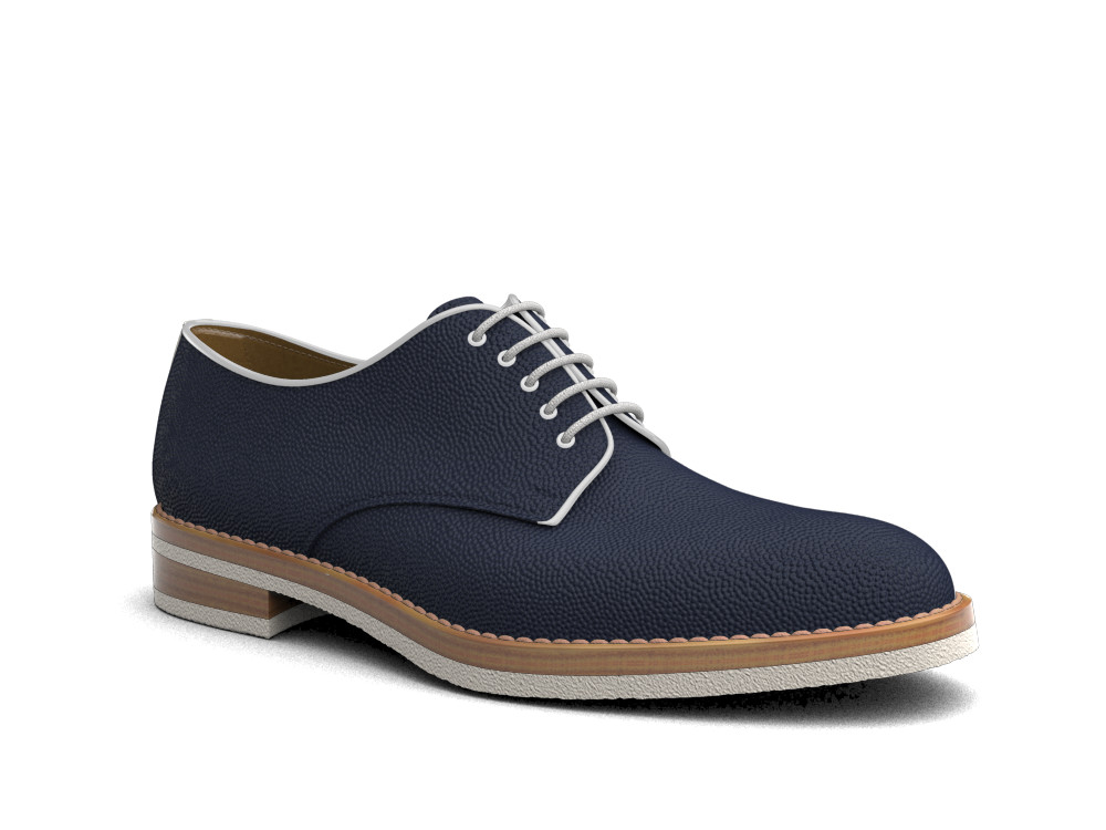 navy pebble grain leather men derby plain
