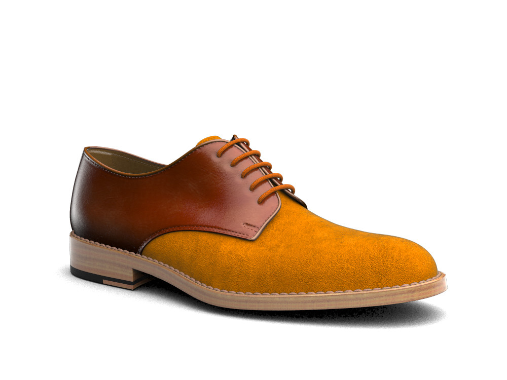 tan polished orange suede leather men derby plain