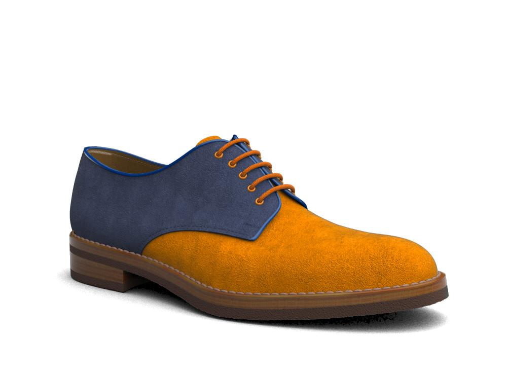 bicolored suede leather men derby plain