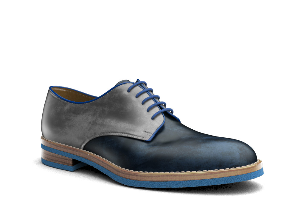 bicolored decò leather men derby plain