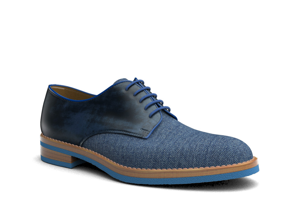 derby uomo pelle decolorata navy denim