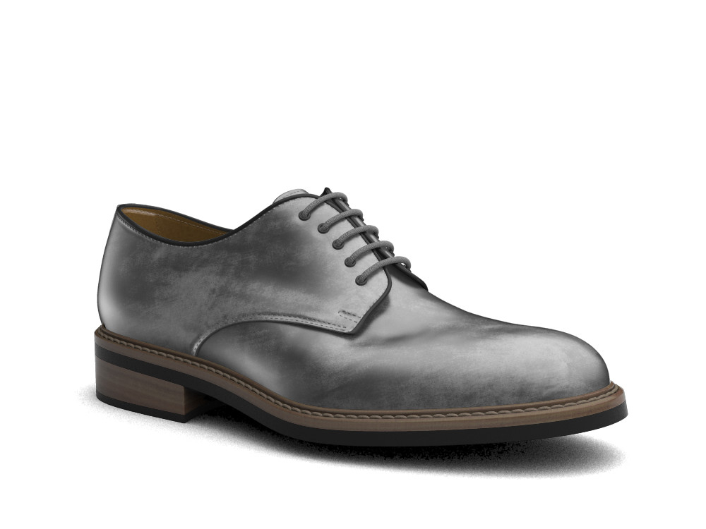 grey decò leather men derby plain
